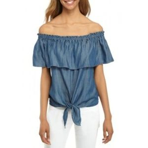 CROWN & IVY Tie Front Off The Shoulder Chambray